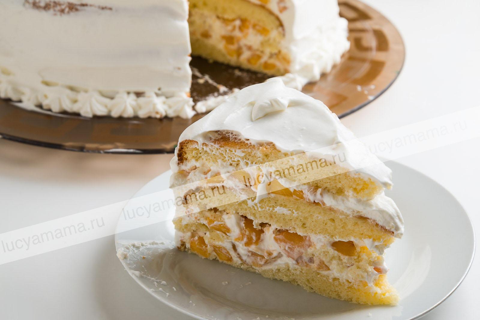Торт бискивитный с персиком