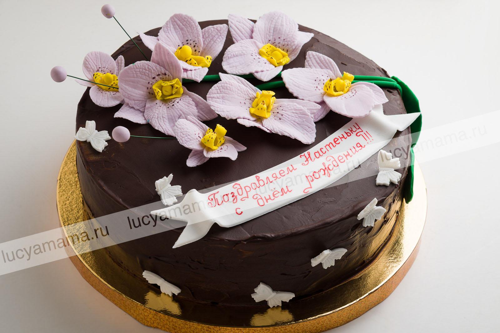 """Торт """"Прага"""" с орхидеями"""