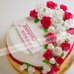 торт, на юбилей, цветы, розы, панчо
