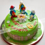 смурфики, детский торт, день рождения, мастика