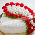 ананас, грецкий орех, мастика, панчо, розы, торт, цветы, сердце, крупный план