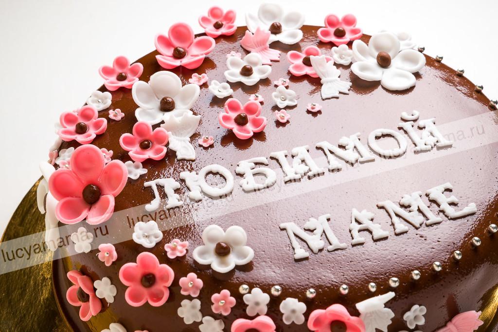 торт, цветы, крупный план, мастика, безе, грецкий орех, кокосовое молоко