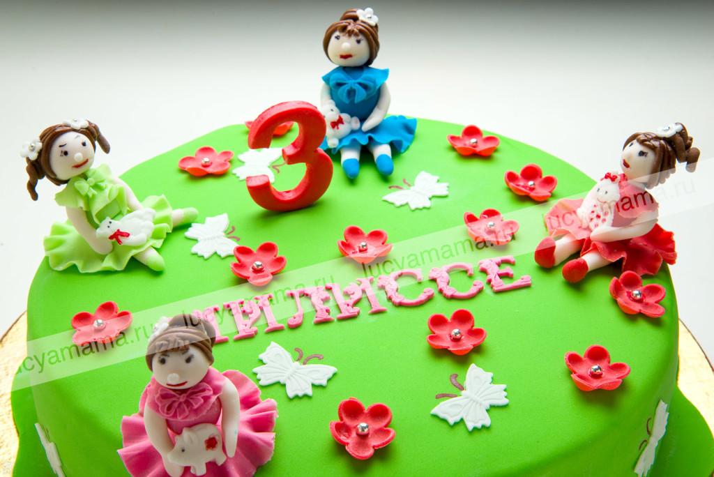 торт, бисквит, детский, фигурки детей, 3 года
