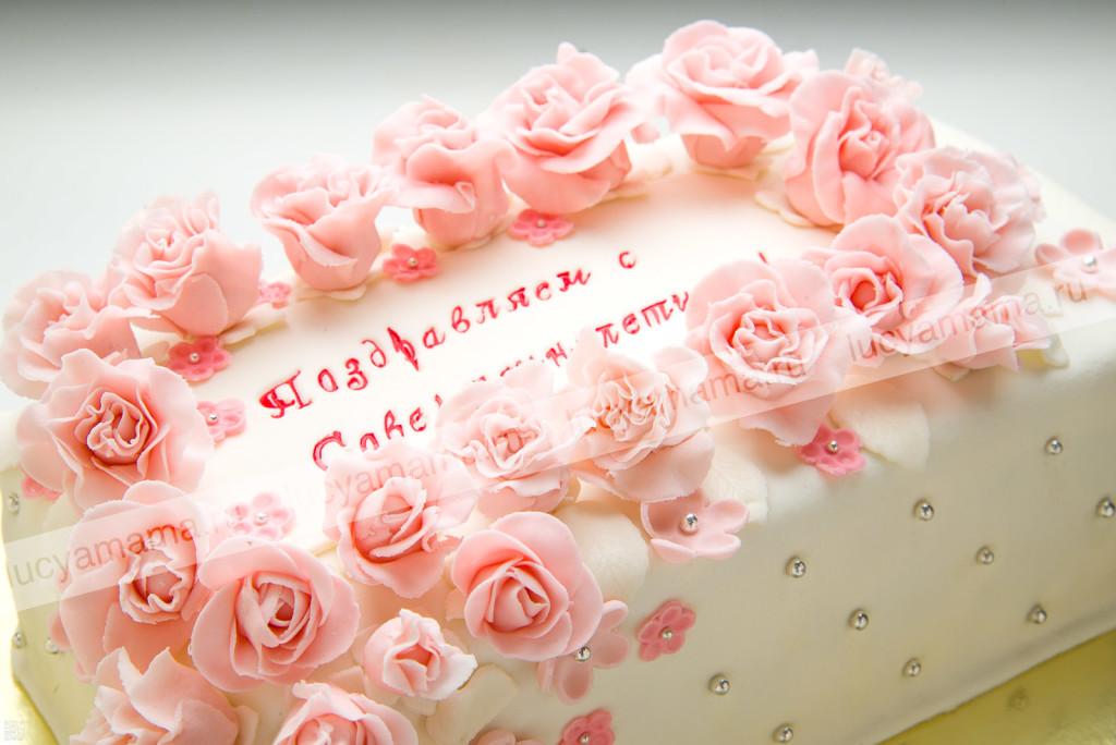 торт, мастик, цветы